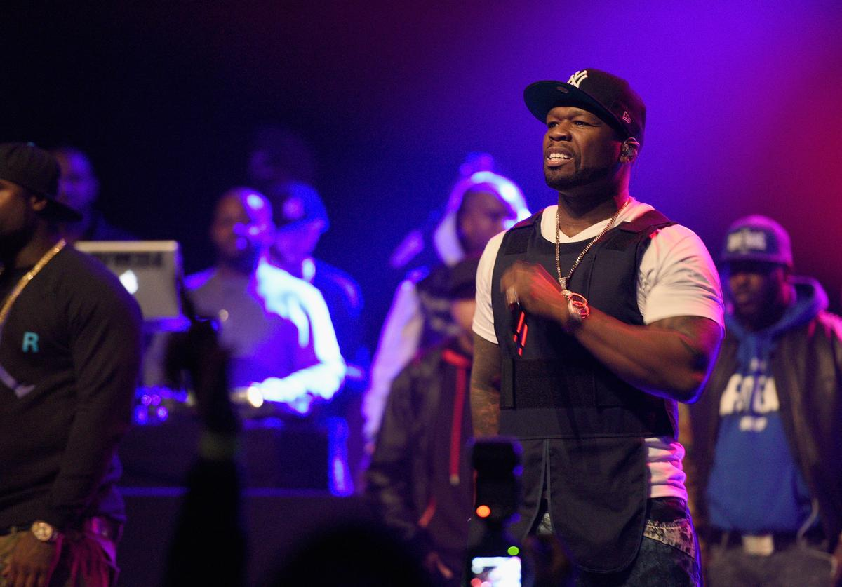 50 Cent wearing his bullet proof vest