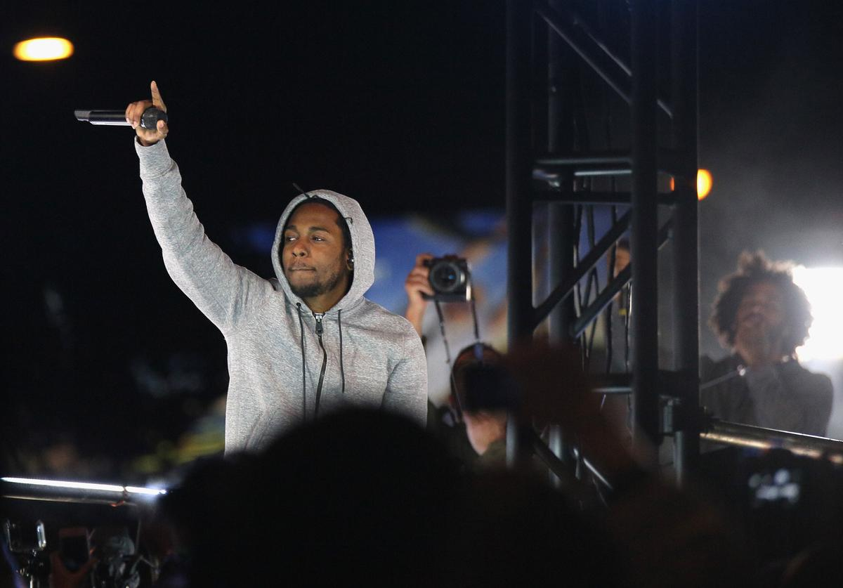 Kendrick Lamar performs at the #GETPUMPED event.