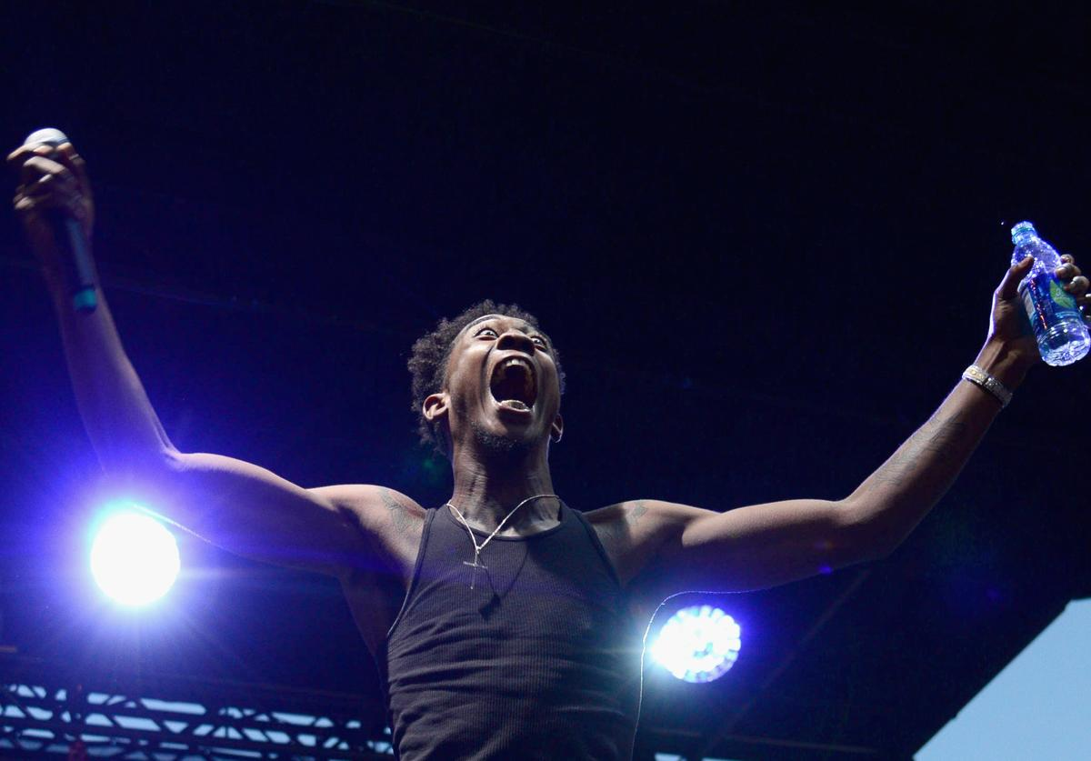Desiigner performing at the Budweiser 2016  Made in America festival.