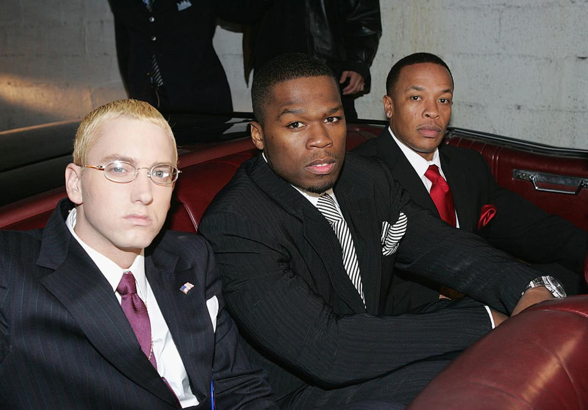 (L to R) Rappers Eminem, 50 Cent and Dr. Dre arrive at the Shady National Convention to launch Shade 45, a new satellite radio station, at the Roseland Ballroom October 28, 2004 in New York City.