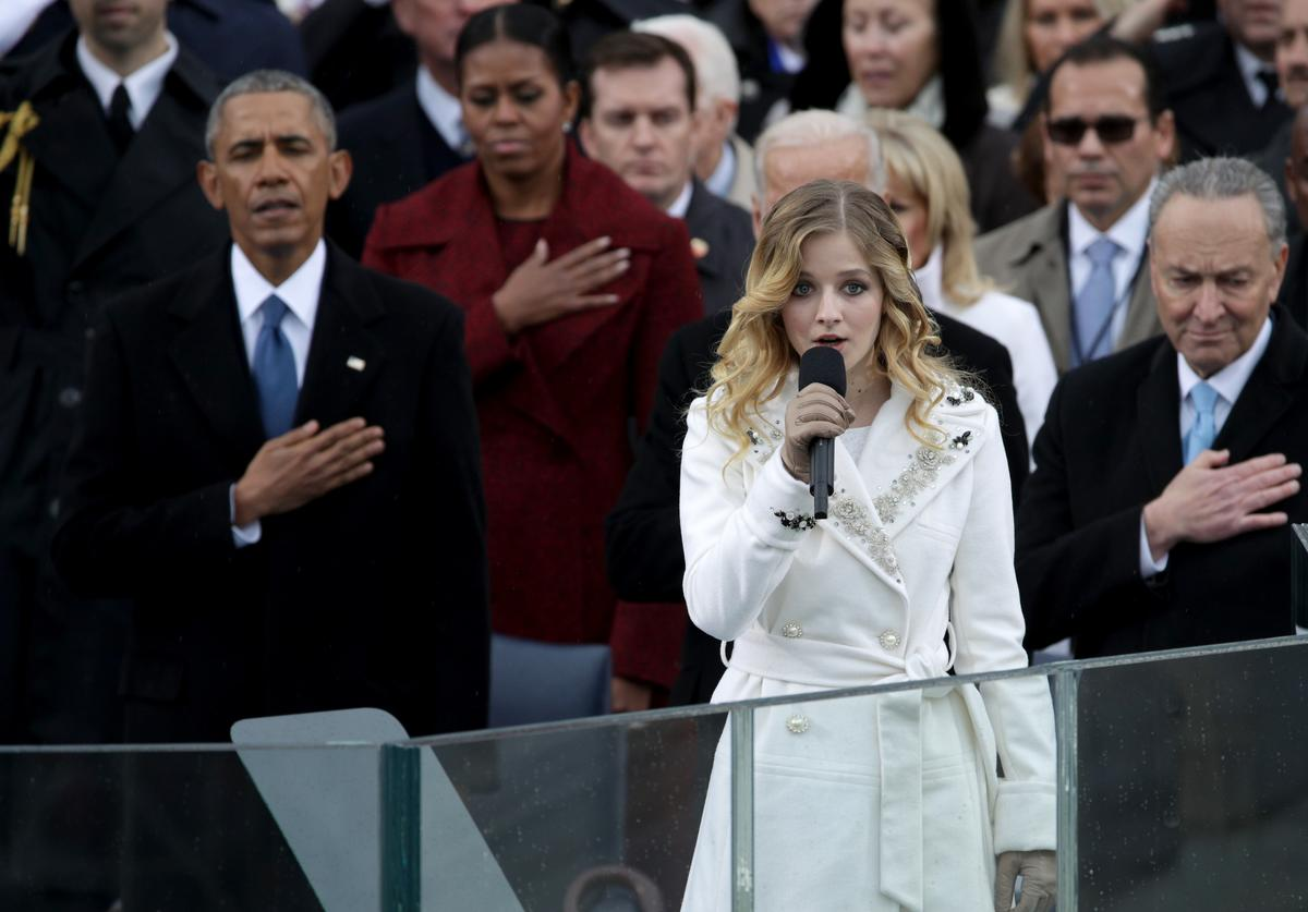 Barack Obama and Michelle Obama at the 45th presidential inauguration.