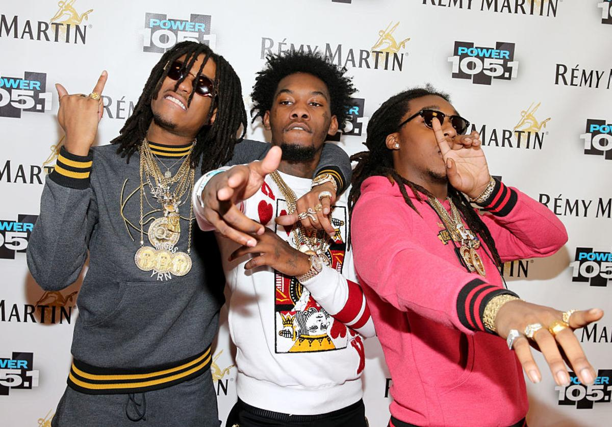 (L-R) Kirshnik 'Takeoff' Ball, Kiari 'Offset'? Cephus and Quavious 'Quavo'? Marshall of Migos attend Power 105.1's Powerhouse 2014 at Barclays Center of Brooklyn on October 30, 2014 in New York City.