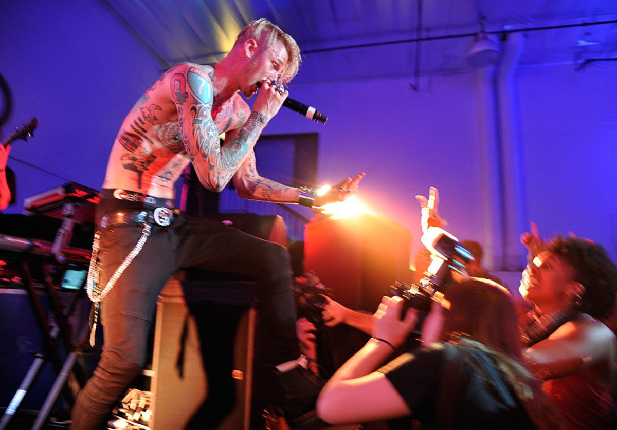 Machine Gun Kelly gives an intimate performance for fans at the Machine Gun Kelly Album Listening Party at the Samsung Studio LA across from The Grove on June 25, 2015 in Los Angeles, California.