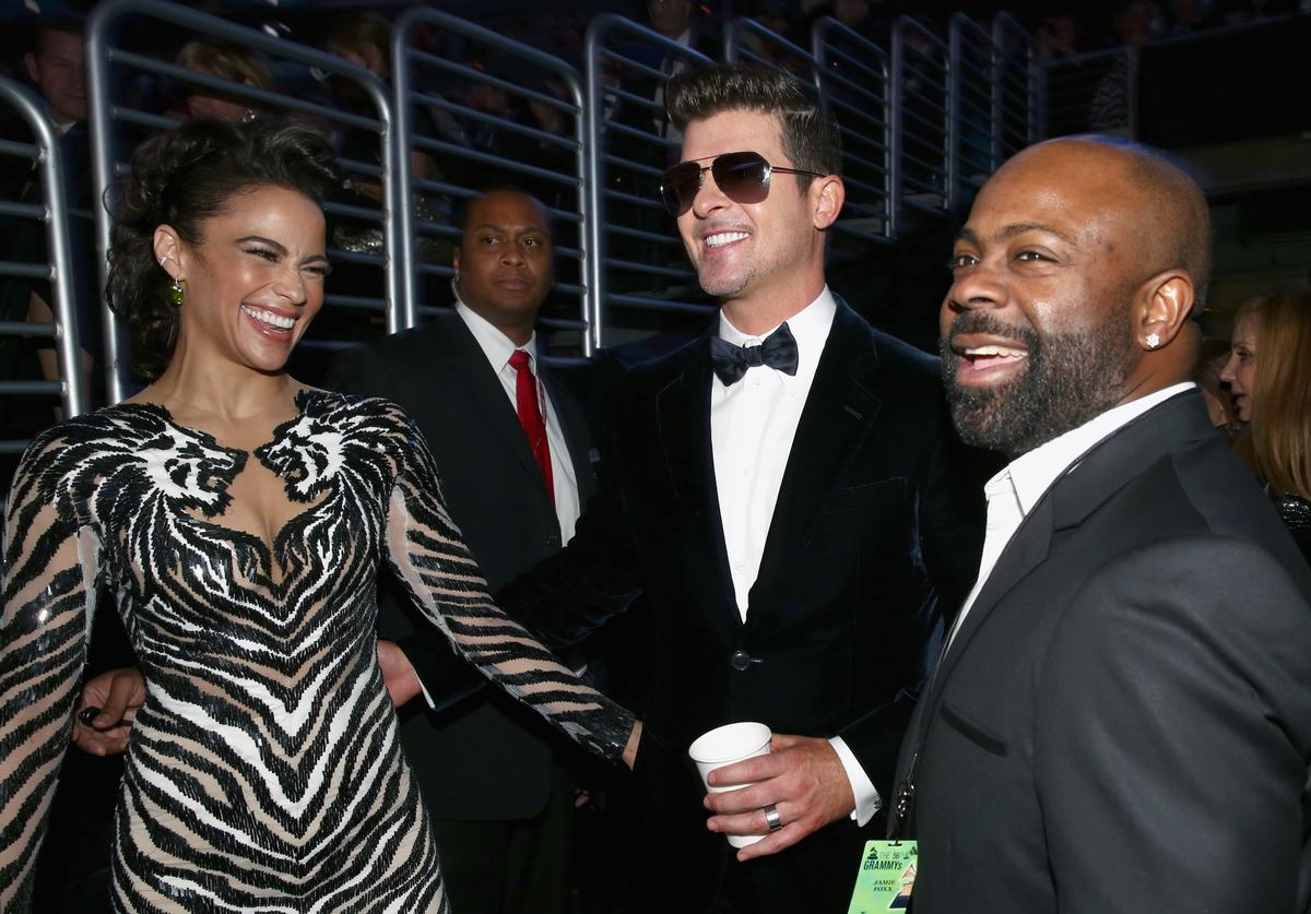 Paula Patton and Robin Thicke at 56th annual Grammy Awards show.
