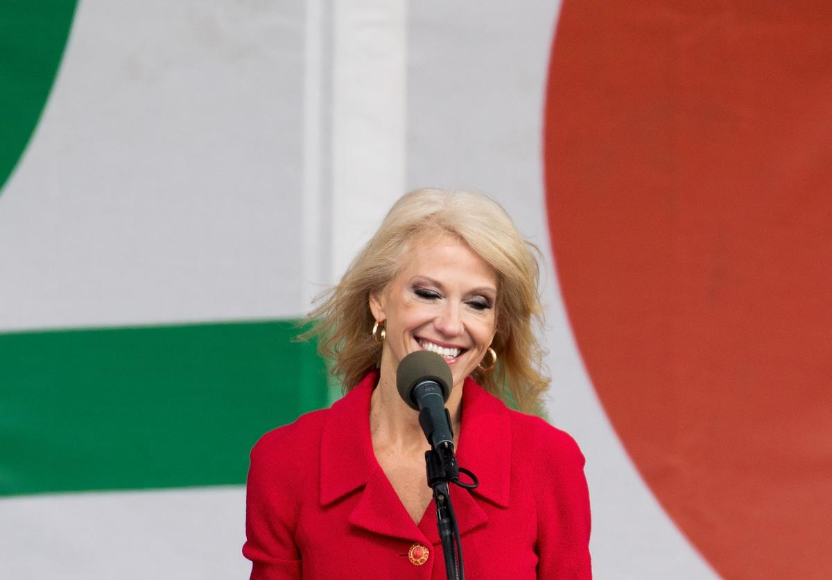 Kellyanne Conway speaks at Us Political Abortion protest.