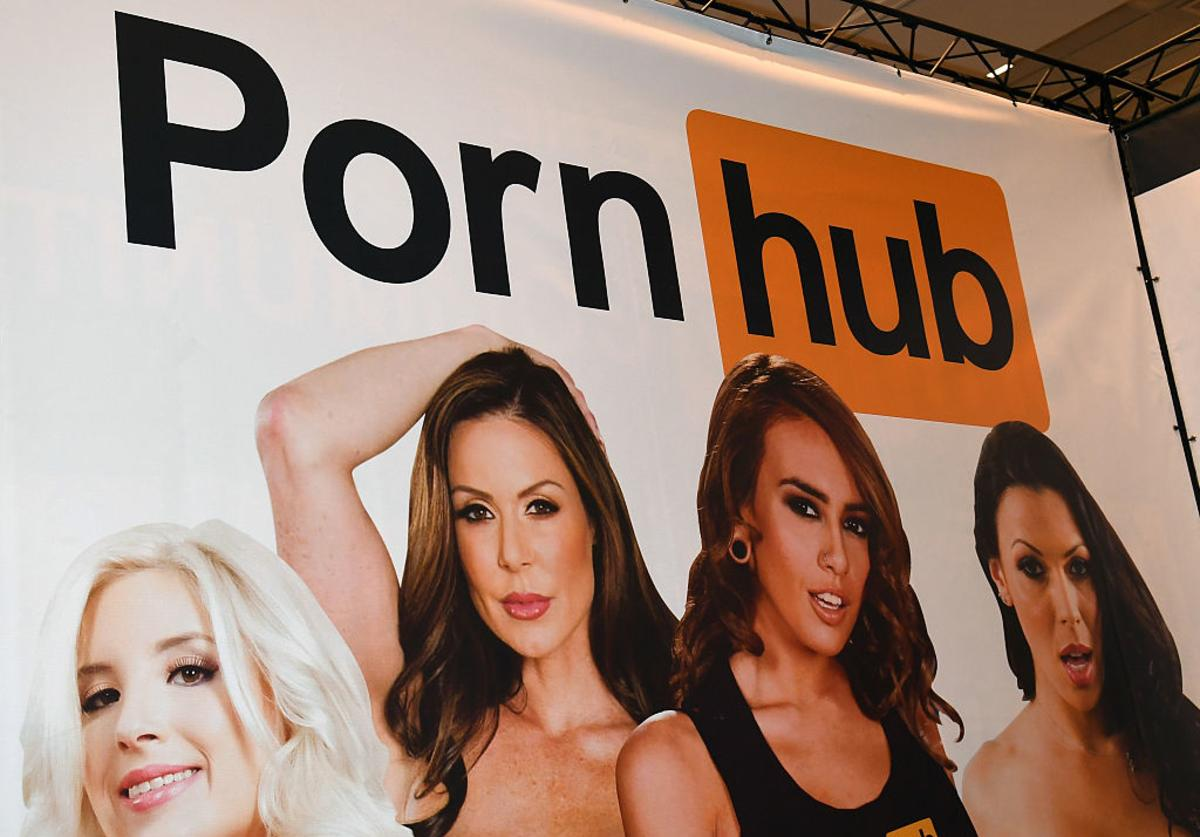 A sign at the Pornhub booth is displayed at the 2017 AVN Adult Entertainment Expo at the Hard Rock Hotel & Casino on January 18, 2017 in Las Vegas, Nevada.