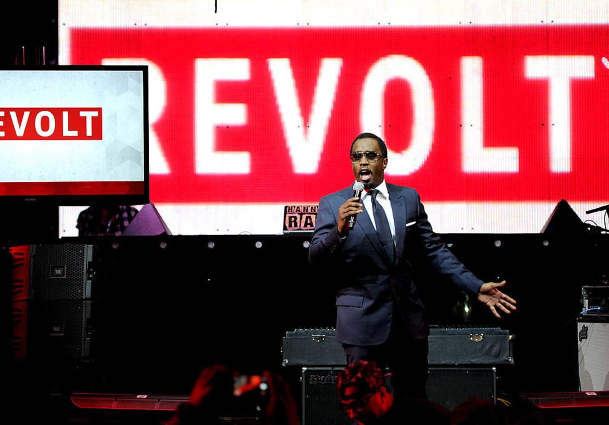 Sean 'Diddy' Combs speaks at the REVOLT TV First Annual Upfront presentation at Marquee on April 22, 2014 in New York City.