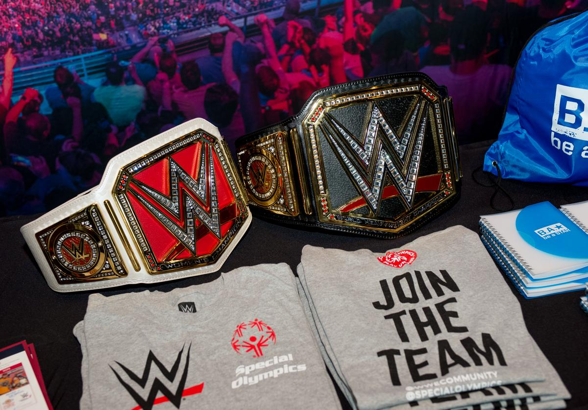 The WWE stand during the Beyond Sport United 2016 at Barclays Center on August 9, 2016 in Brooklyn, New York.