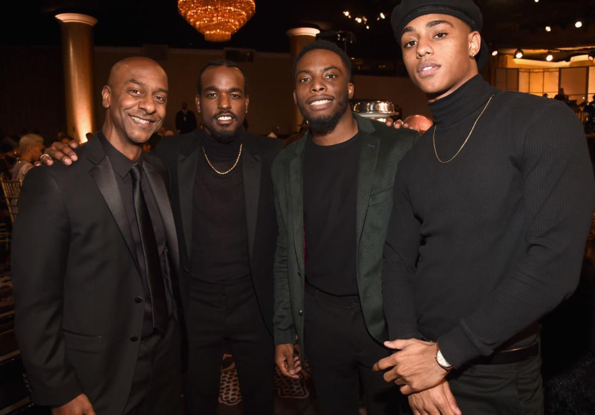 (L-R) President of Programming for BET Stephen Hill and actors Luke James, Woody McClain and Keith Powers attend BET Presents the American Black Film Festival Honors on February 17, 2017 in Beverly Hills, California.