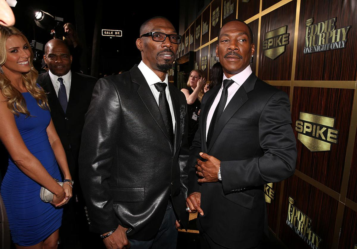 (L-R) Actor Charlie Murphy and honoree Eddie Murphy arrive at Spike TV's 'Eddie Murphy: One Night Only' at the Saban Theatre on November 3, 2012 in Beverly Hills, California.