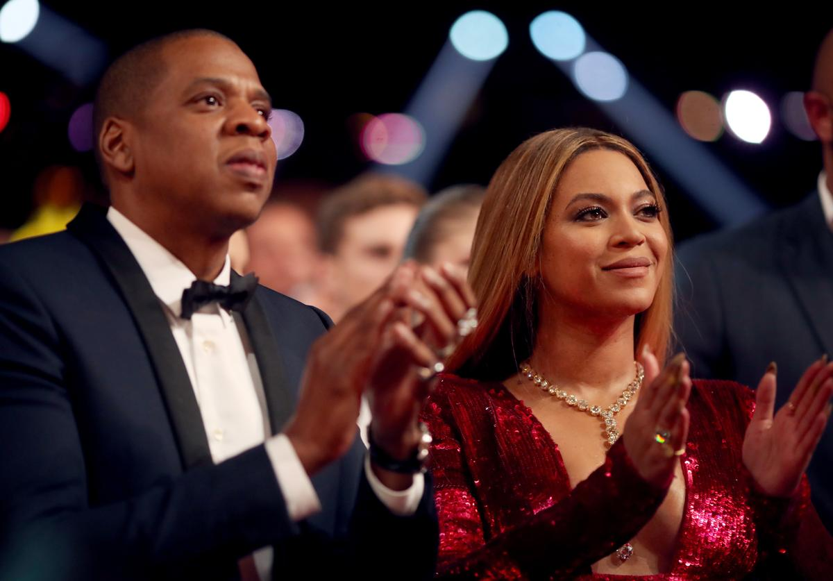 Jay Z and Beyonce at the 59th Annual Grammys
