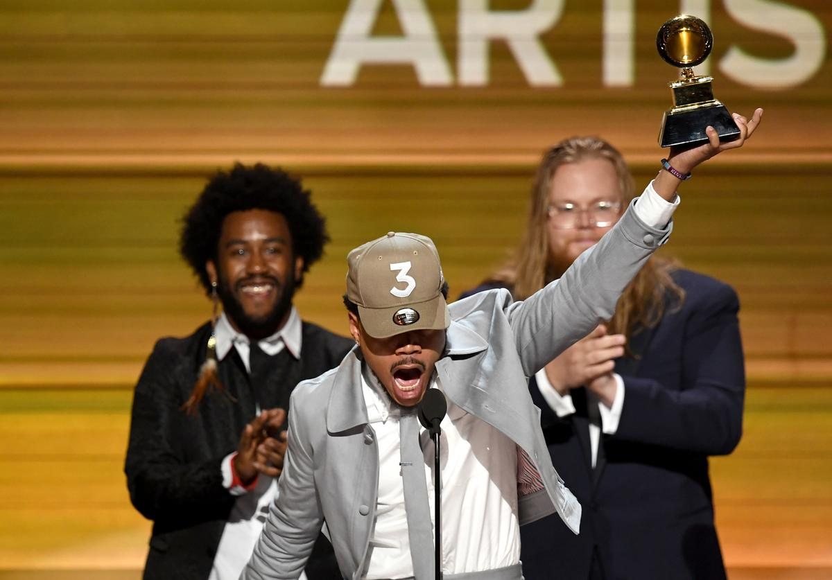 chance the rapper gives a speech after winning a grammy at the 59th annual awards