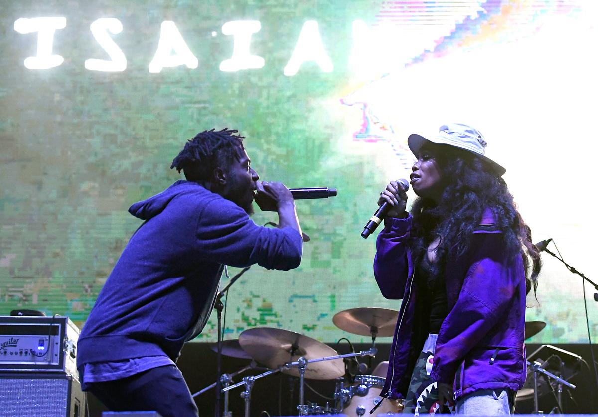 Isaiah Rashad (L) and SZA perform on Flog Stage during day one of Tyler, the Creator's 5th Annual Camp Flog Gnaw Carnival