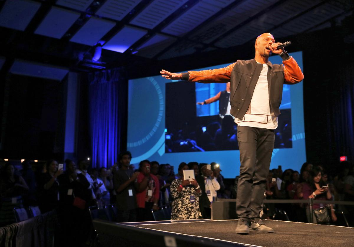 Common performs during the Inspirational Forum at Opportunity Fair and Forum