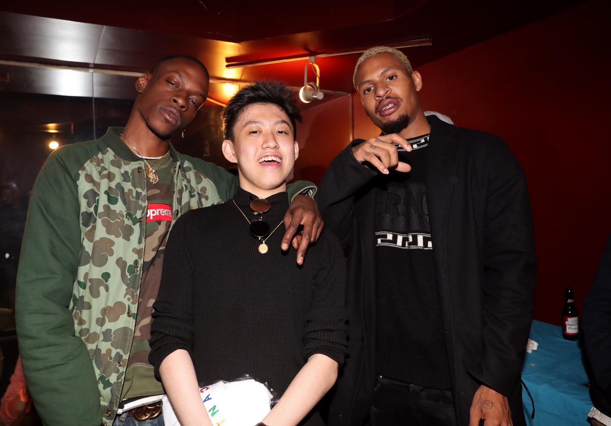 Rich Chigga (c) poses with Issa Gold (L) and AK (r) of The Underachievers backstage at S.O.B.'s on May 10, 2017 in New York City.
