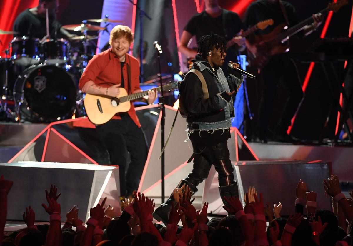Ed Sheeran (L) and Lil Uzi Vert perform onstage during the 2017 MTV Video Music Awards at The Forum on August 27, 2017 in Inglewood, California.