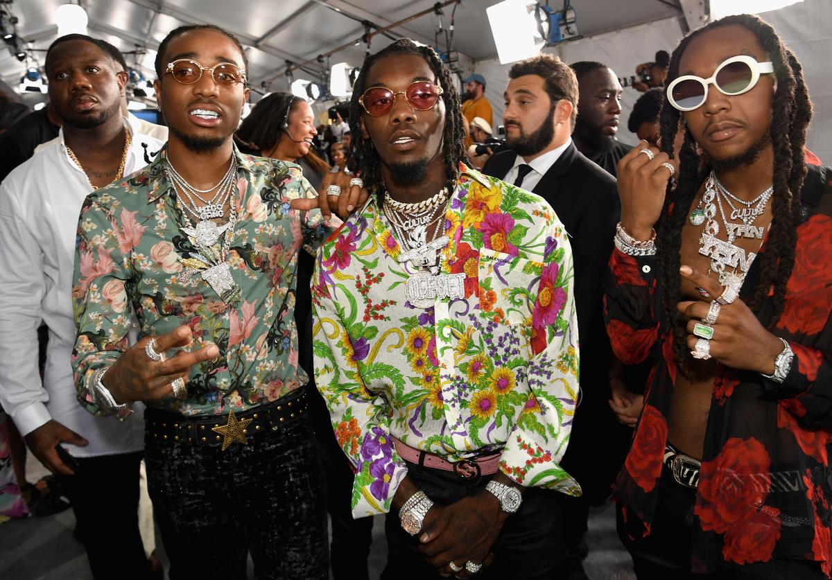(L-R) Quavo, Offset, and Takeoff of Migos at the 2017 BET Awards at Staples Center on June 25, 2017 in Los Angeles, California.