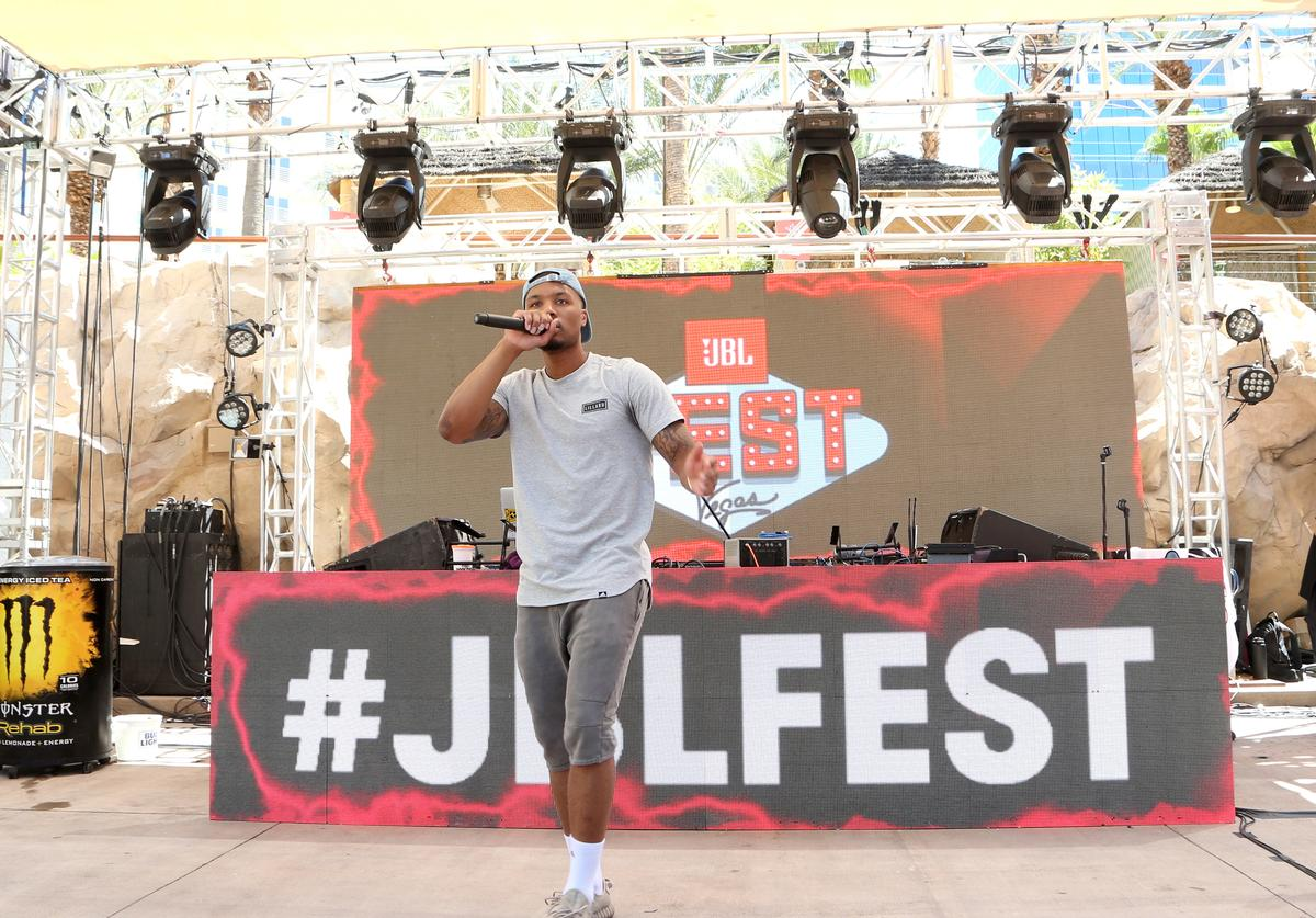 NBA player Damian Lillard performs at JBL Poolside, one of the many events a part of JBL Fest, an exclusive, three-day music experience hosted by JBL at the Hard Rock Hotel & Casino on July 28, 2017 in Las Vegas, Nevada.