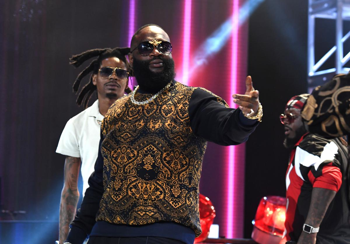 Rick Ross performs onstage during the BET Hip Hop Awards 2017 at The Fillmore Miami Beach at the Jackie Gleason Theater on October 6, 2017 in Miami Beach, Florida.