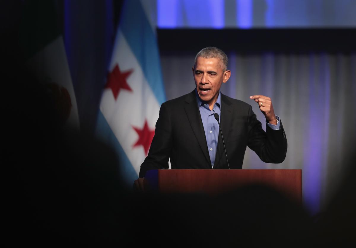 Former president Barack Obama speaks to a gathering of more than 50 mayors and other guests during the North American Climate Summit on December 5, 2017 in Chicago, Illinois. The summit was held to bring together leaders from the U.S., Canada and Mexico to commit their cities to addressing climate change at the local level.