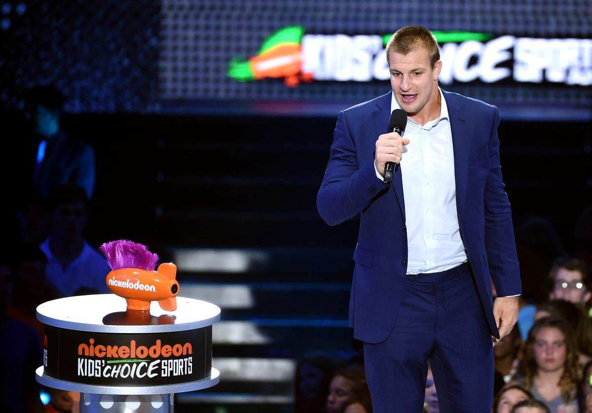 Rob Gronkowski speaks onstage during the Nickelodeon Kids' Choice Sports Awards 2016 at UCLA's Pauley Pavilion on July 14, 2016 in Westwood, California