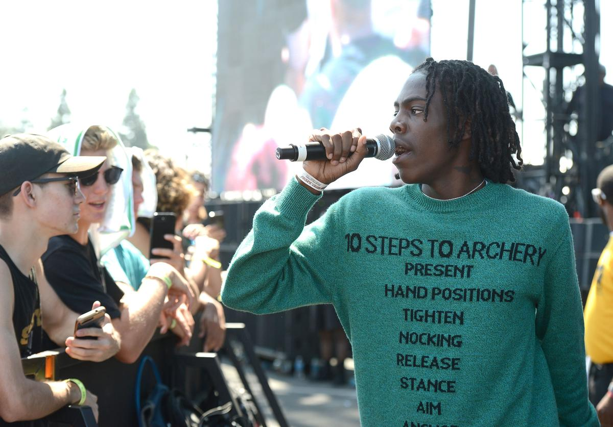 Yung Bans performs in the crowd the Day N Night Festival at Angel Stadium of Anaheim on September 10, 2017 in Anaheim, California