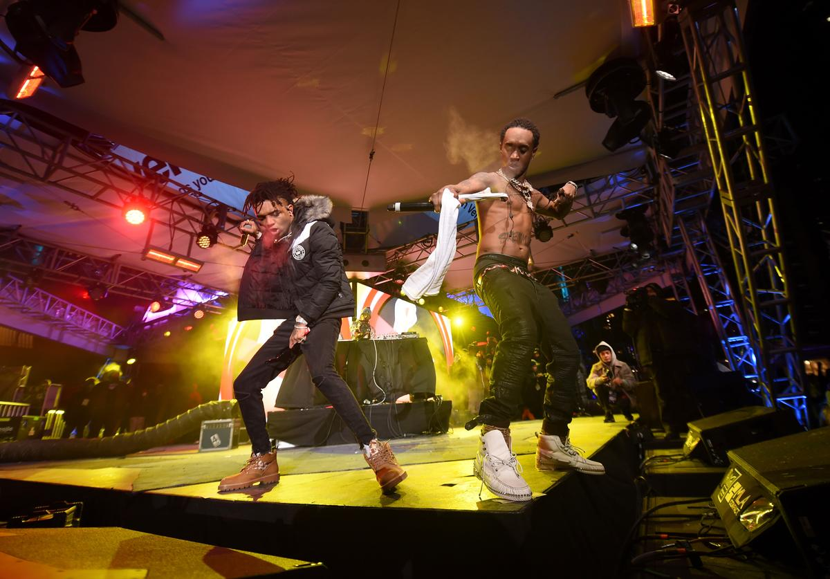 Rae Sremmurd performs on the Verizon Up Stage at Super Bowl LIVE presented by Verizon on February 1, 2018 in Minneapolis, Minnesota.