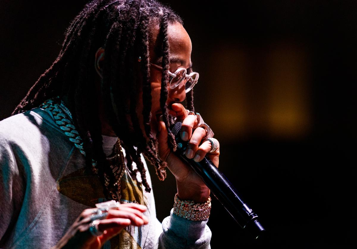 Quavo of music group Migos performs onstage during 'All-Star Weekend Kick-Off Party' at Capitol Records Tower on February 15, 2018 in Los Angeles, California