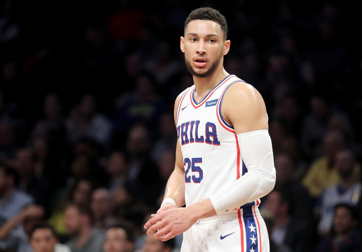 Ben Simmons #25 of the Philadelphia 76ers reacts in the first quarter against the Brooklyn Nets during their game at Barclays Center on January 31, 2018 in the Brooklyn borough of New York City