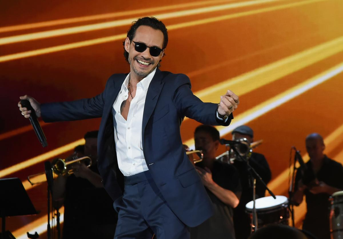 In this handout photo provided by One Voice: Somos Live!, Marc Anthony performs onstage at One Voice: Somos Live! A Concert For Disaster Relief at Marlins Park on October 14, 2017 in Miami, Florida.