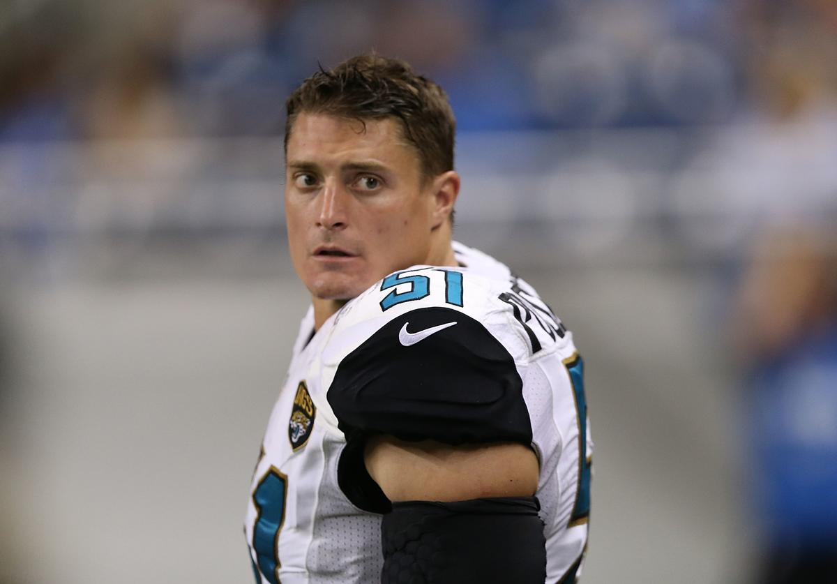 Paul Posluszny #51 of the Jacksonville Jaguars leaves the field during the second half of the preseason game against the Detroit Lions at Ford Field on August 22, 2014 in Detroit, Michigan. The Lions defeated the Jaguars 13-12.