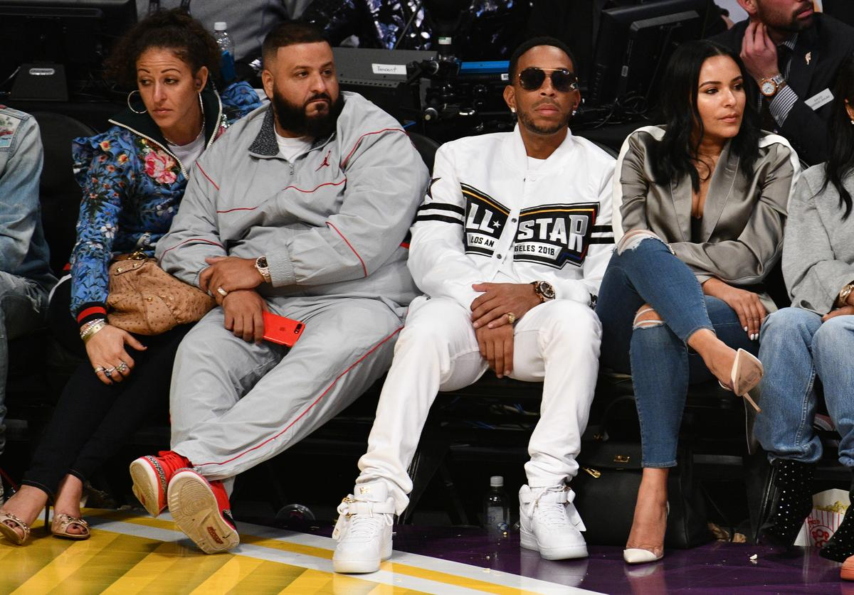 Ludacris and DJ Khaled attend The 67th NBA All-Star Game: Team LeBron Vs. Team Stephen at Staples Center on February 18, 2018 in Los Angeles, California