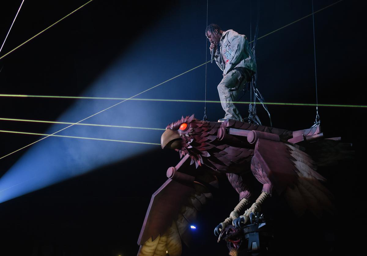 Travis Scott performs on stage during the MTV EMAs 2017 held at The SSE Arena, Wembley on November 12, 2017 in London, England