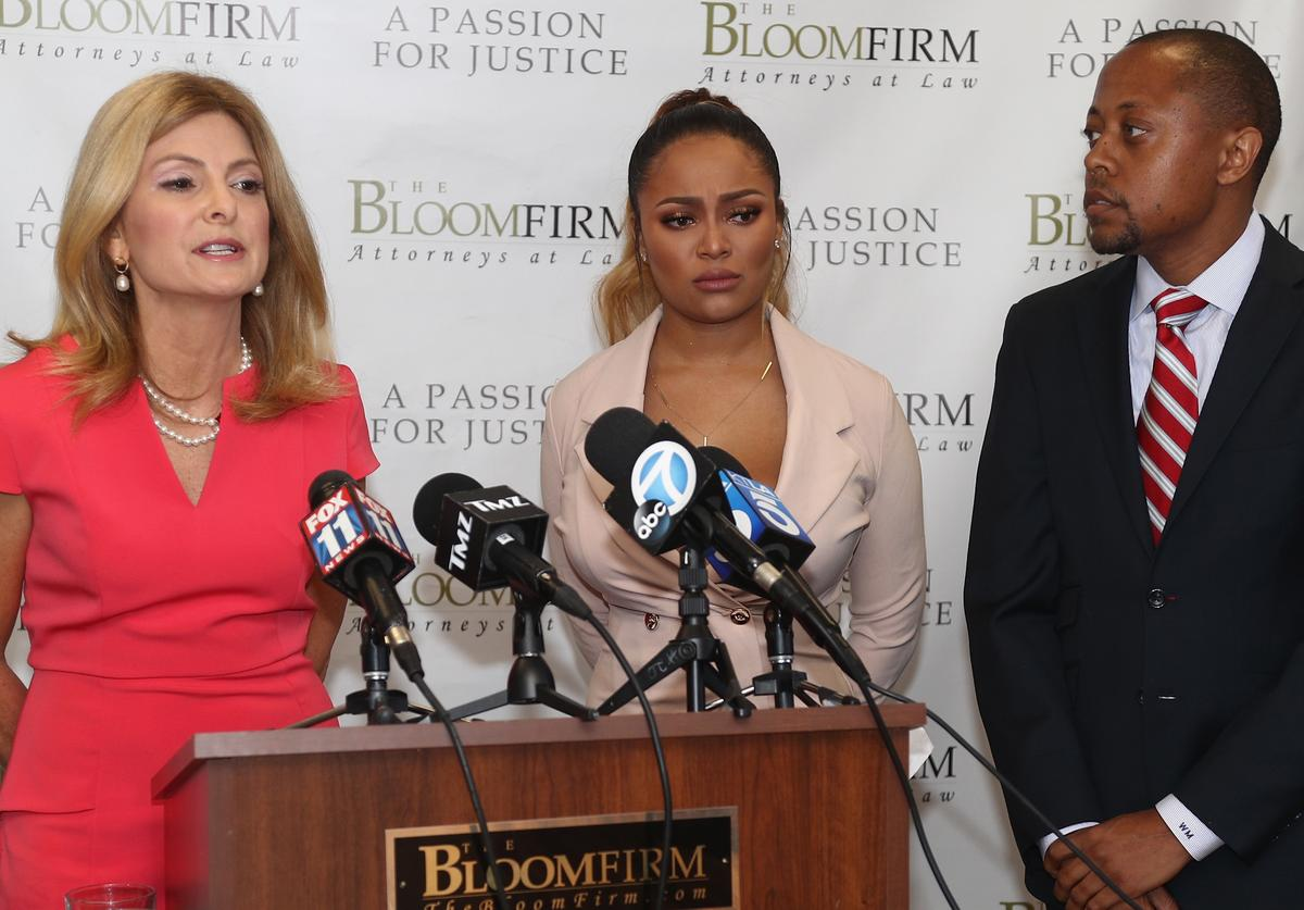 Lisa Bloom, speaking, and Walter Mosely hold a press conference with their client Teairra Mari (C) about new legal action against rapper 50 Cent and Akbar Abdul-Ahad at The Bloom Firm on May 17, 2018 in Woodland Hills, California