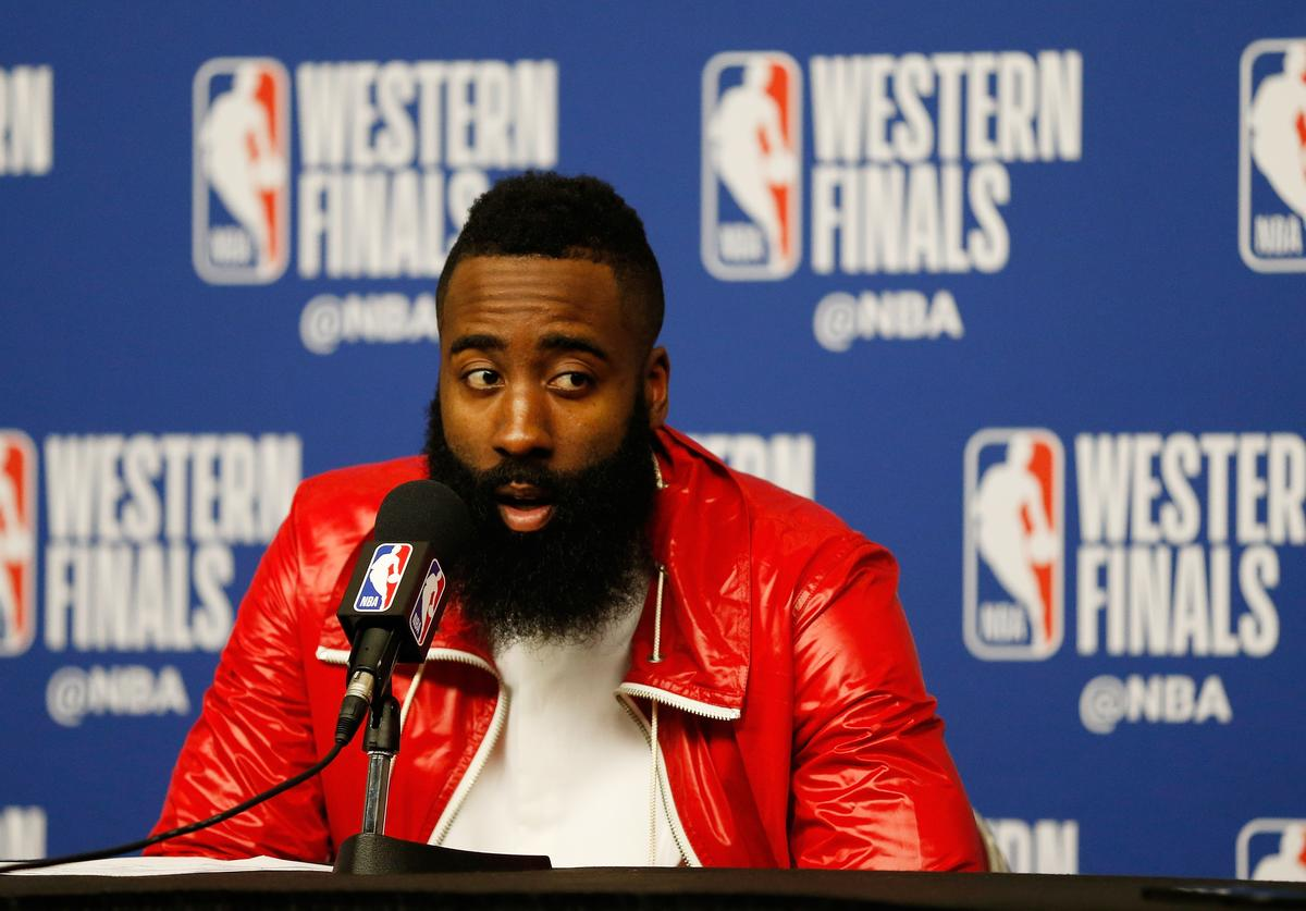 James Harden #13 of the Houston Rockets speaks to the media after their 92 to 101 loss to Golden State Warriors in Game Seven of the Western Conference Finals of the 2018 NBA Playoffs at Toyota Center on May 28, 2018 in Houston, Texas