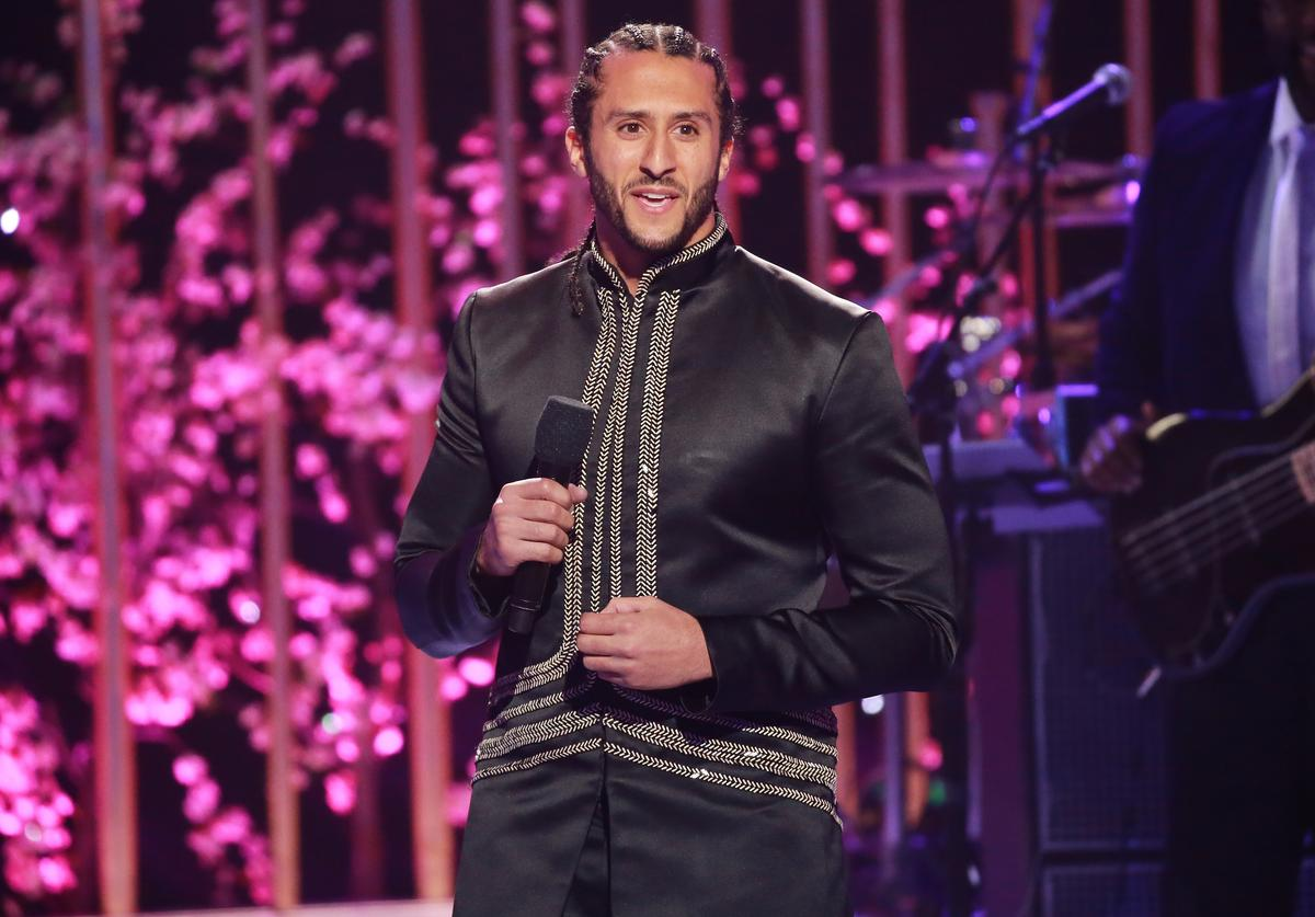 Colin Kaepernick speaks onstage during VH1's 3rd Annual 'Dear Mama: A Love Letter To Moms' - Inside Show at The Theatre at Ace Hotel on May 3, 2018 in Los Angeles, California