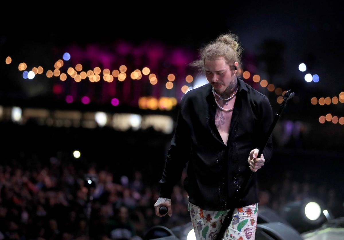 Post Malone performs onstage during 2018 Coachella Valley Music And Arts Festival Weekend 1 at the Empire Polo Field on April 14, 2018 in Indio, California