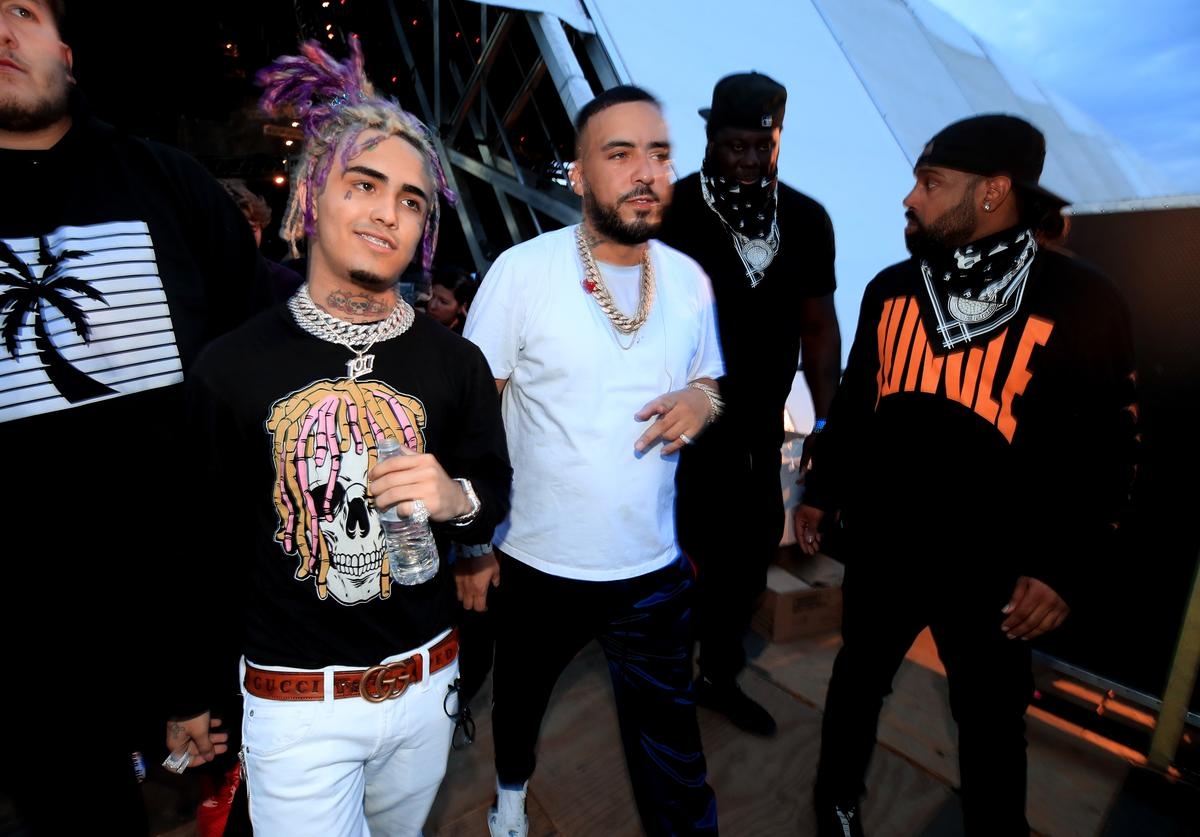 Lil Pump and French Montana pose backstage during the 2018 Coachella Valley Music and Arts Festival Weekend 1 at the Empire Polo Field on April 15, 2018 in Indio, California