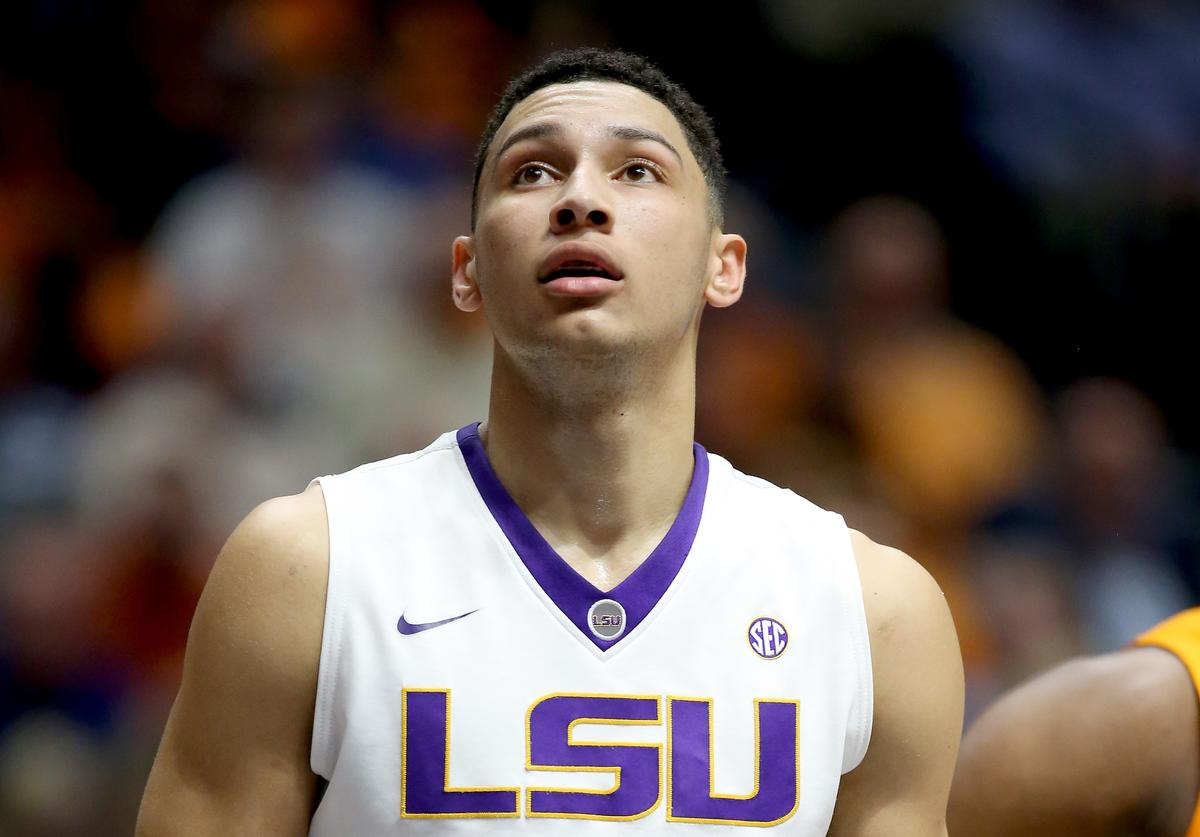 Ben Simmons #25 of the LSU Tigers waits to rebound the ball during the game against the Tennessee Volunteers during the quarterfinals of the SEC Basketball Tournament at Bridgestone Arena on March 11, 2016 in Nashville, Tennessee
