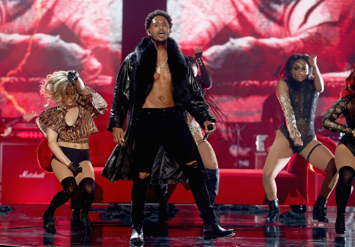 Trey Songz performs onstage at 2017 BET Awards at Microsoft Theater on June 25, 2017 in Los Angeles, California