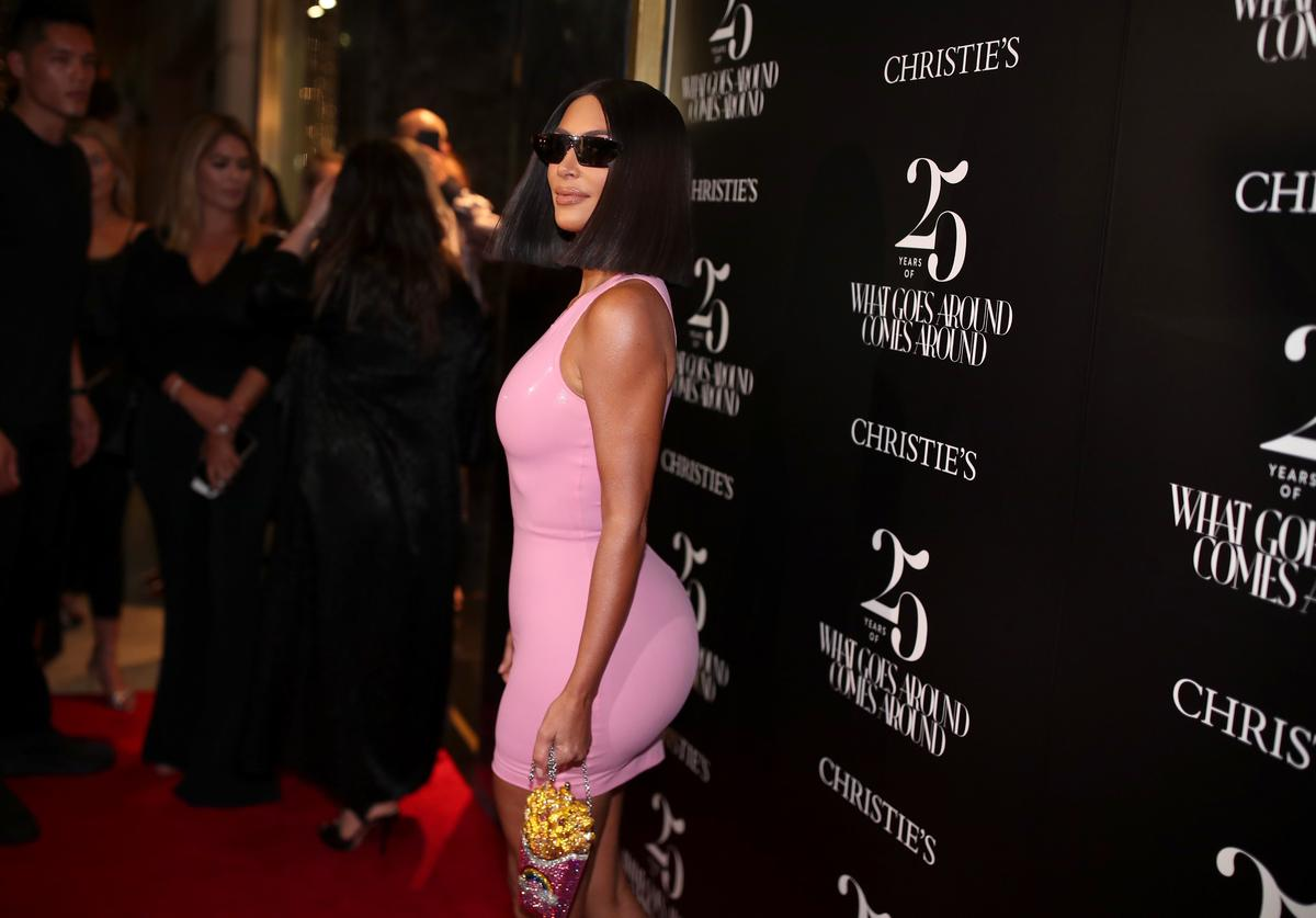 Kim Kardashian attends What Goes Around Comes Around 25th Anniversary Auction Beverly Hills Preview, presented by Christie's, at What Goes Around Comes Around on August 21, 2018 in Beverly Hills, California