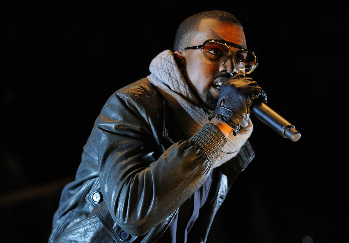 Kanye West performs on stage at the Melbourne stop of the Good Vibrations Festival 2008 at the Sidney Myer Music Bowl on February 9, 2008 in Melbourne, Australia