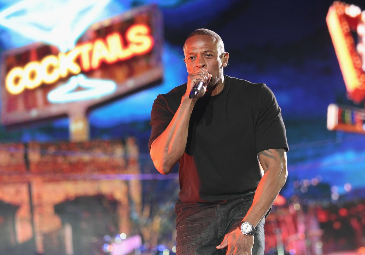 Dr. Dre performs onstage during day 3 of the 2012 Coachella Valley Music & Arts Festival at the Empire Polo Field on April 15, 2012 in Indio, California