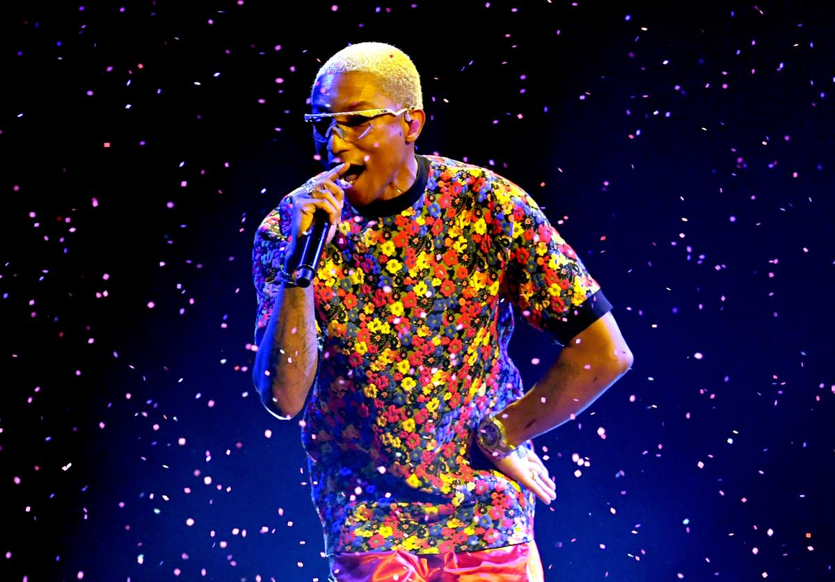 Pharrell Williams performs onstage during the 2018 Billboard Music Awards at MGM Grand Garden Arena on May 20, 2018 in Las Vegas, Nevada