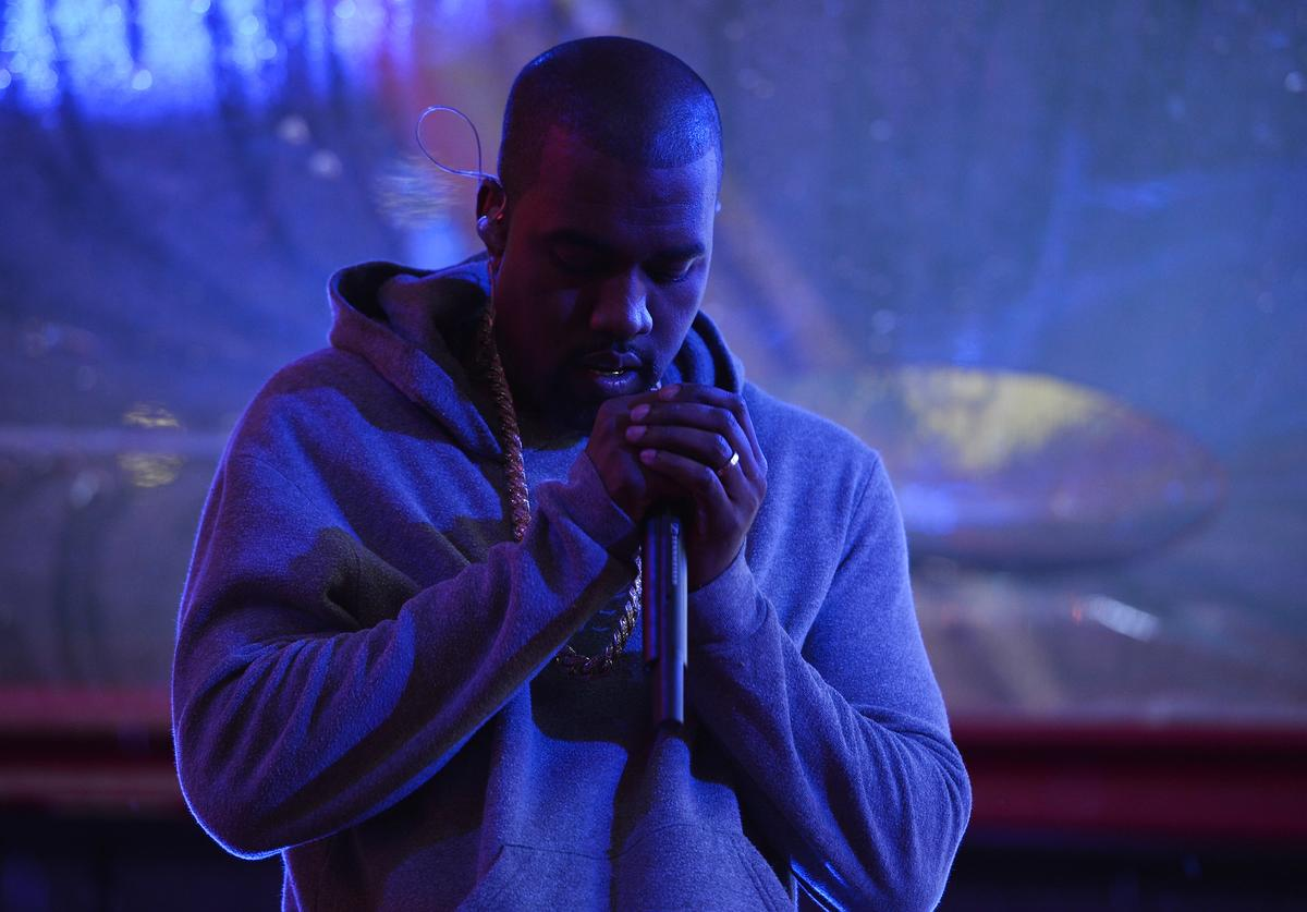 Kanye West performs on World AIDS Day at 'A (RED) Thank You,' presented by (Bank of America)RED on December 1, 2014 in New York City