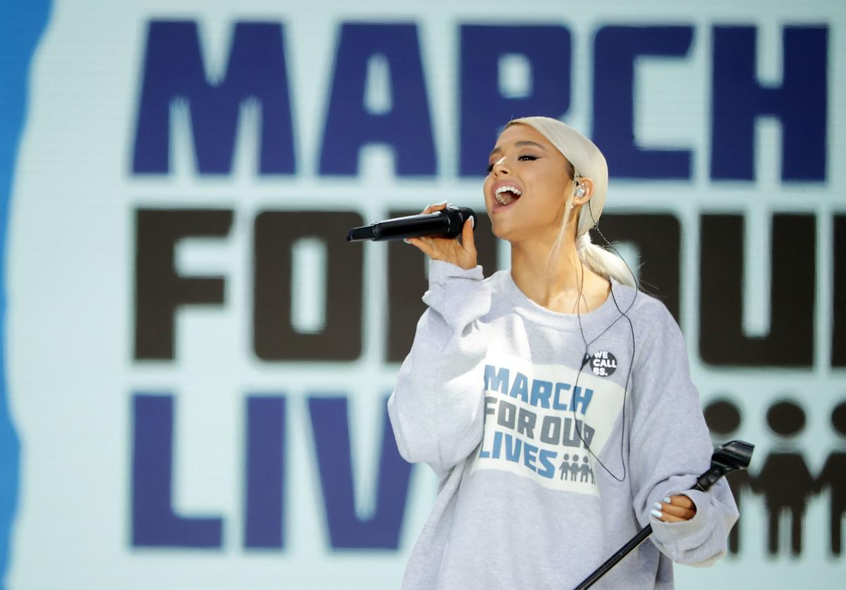 Ariana Grande performs 'Be Alright' during the March for Our Lives rally on March 24, 2018 in Washington, DC