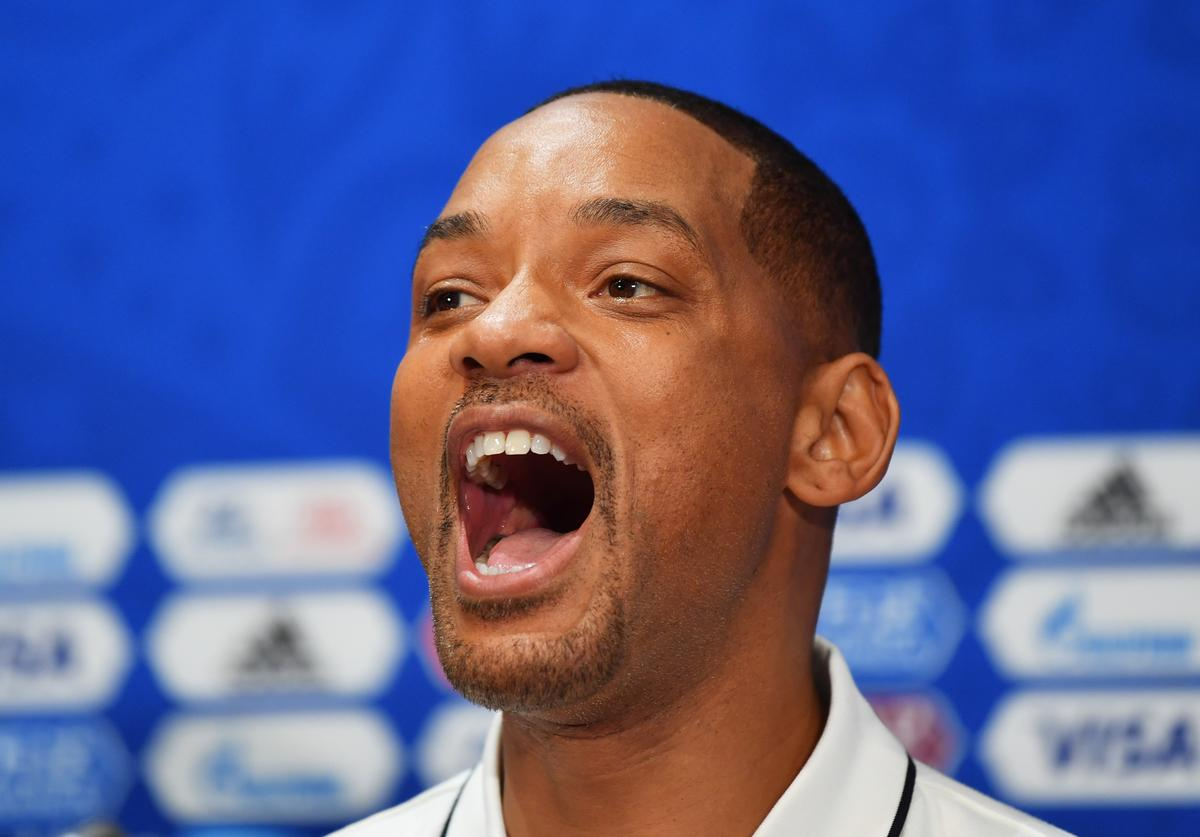 Will Smith reacts at a closing ceremony press conference during the 2018 FIFA World Cup at Luzhniki Stadium on July 13, 2018 in Moscow, Russia