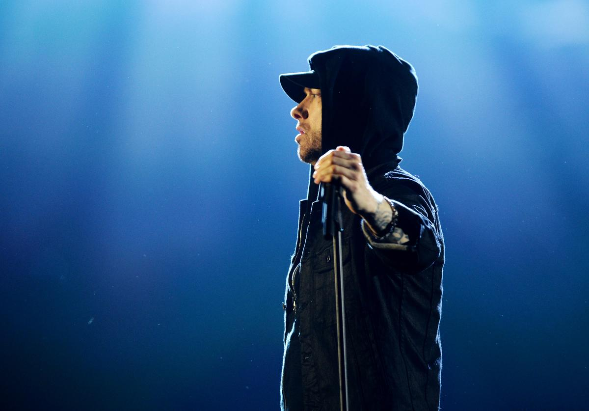 Eminem performs on stage during the MTV EMAs 2017 held at The SSE Arena, Wembley on November 12, 2017 in London, England