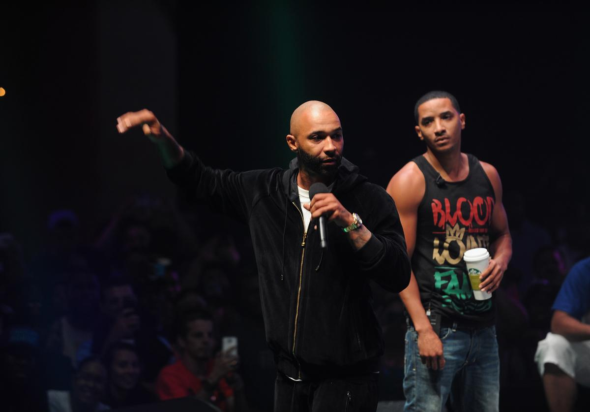 Joe Budden and Hollow Da Don compete at Total Slaughter, hosted by Shady Films and WatchLOUD.com at Hammerstein Ballroom on July 12, 2014 in New York City