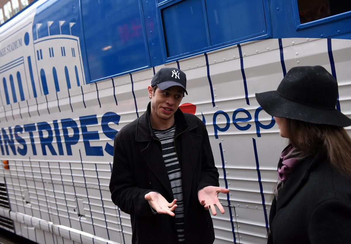 Pete Davidson joins Pepsi to celebrate Yankees opening day, helping fans earn their pinstripes on April 4, 2016 in New York City